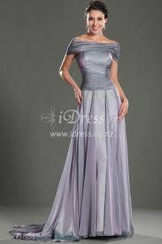 grey off the shoulder long evening dress idress