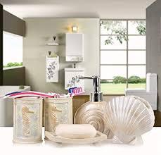 lohox bad accessoires set 5 teilig muschel design badezimmer eitelkeiten home decor badezimmer set seifenspender zahnbürstenhalter zahnputzbecher