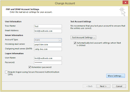 Outlook Mail Server Settings