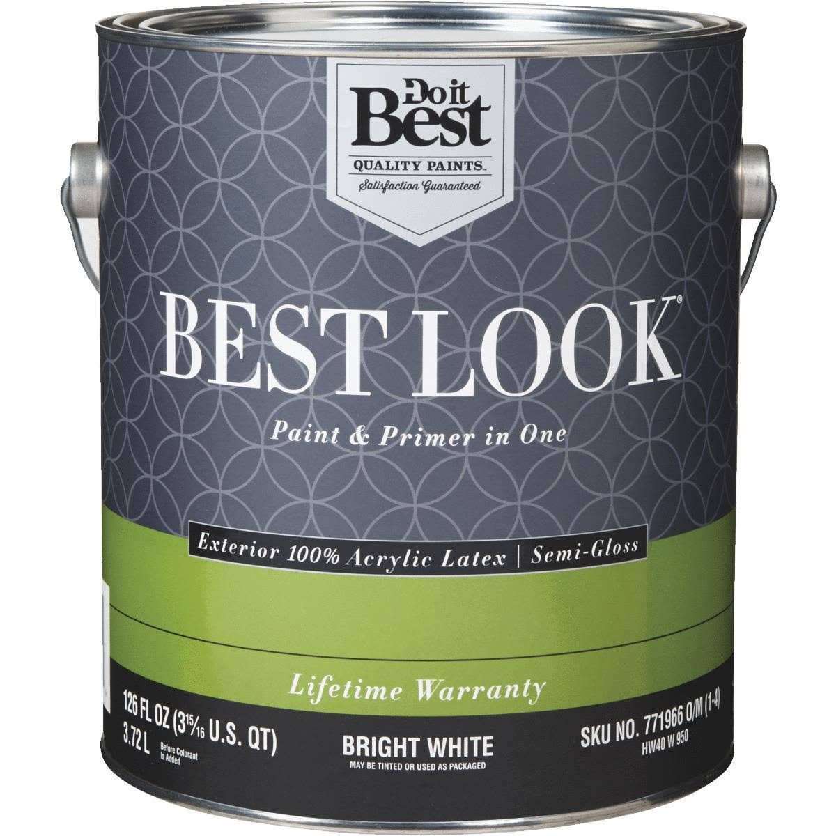 - HW40W0950-16 Best Look 100% Acrylic Latex Paint & Primer in One Semi-Gloss Exterior House Paint