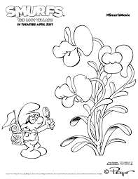 Smurfs The Lost Village Coloring Pages Brainy And Kissing Plants