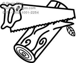 Saw Cutting Wood Clip Art Black And White