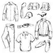 Set Of Clothes For Men Pen Sketch Converted To Vectors Stock Vector
