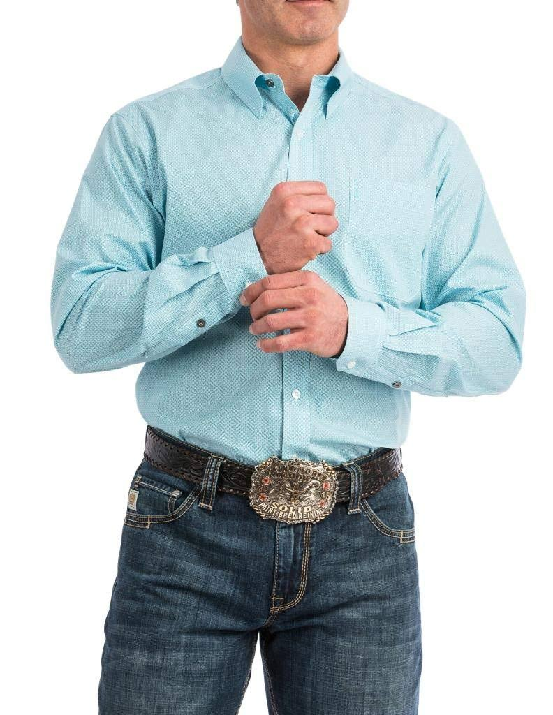 Cinch Long Sleeve Printed Modern Fit (Light Blue) Men's Clothing