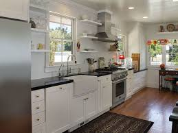 Single Line Farmhouse Kitchen With White Shaker Cabinets