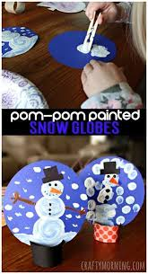 Pom Painted Cardboard Tube Snow Globe Craft For Kids Winter Art Project