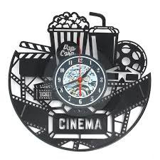 Home Theater Movie Cinema Snack Bar Decor Rec Room Popcorn Machine Sign Clock
