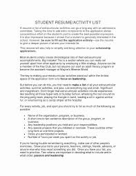 Extracurricular Activities List On Resume 2018 Examples Beautiful Of Extra Curricular
