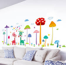 Forest Mushroom Deer Home Wall Art Mural Decor Kids Babies Room Nursery Lovely Animals Family Wallpaper Decoration Decal Wall Applique Removable Wall