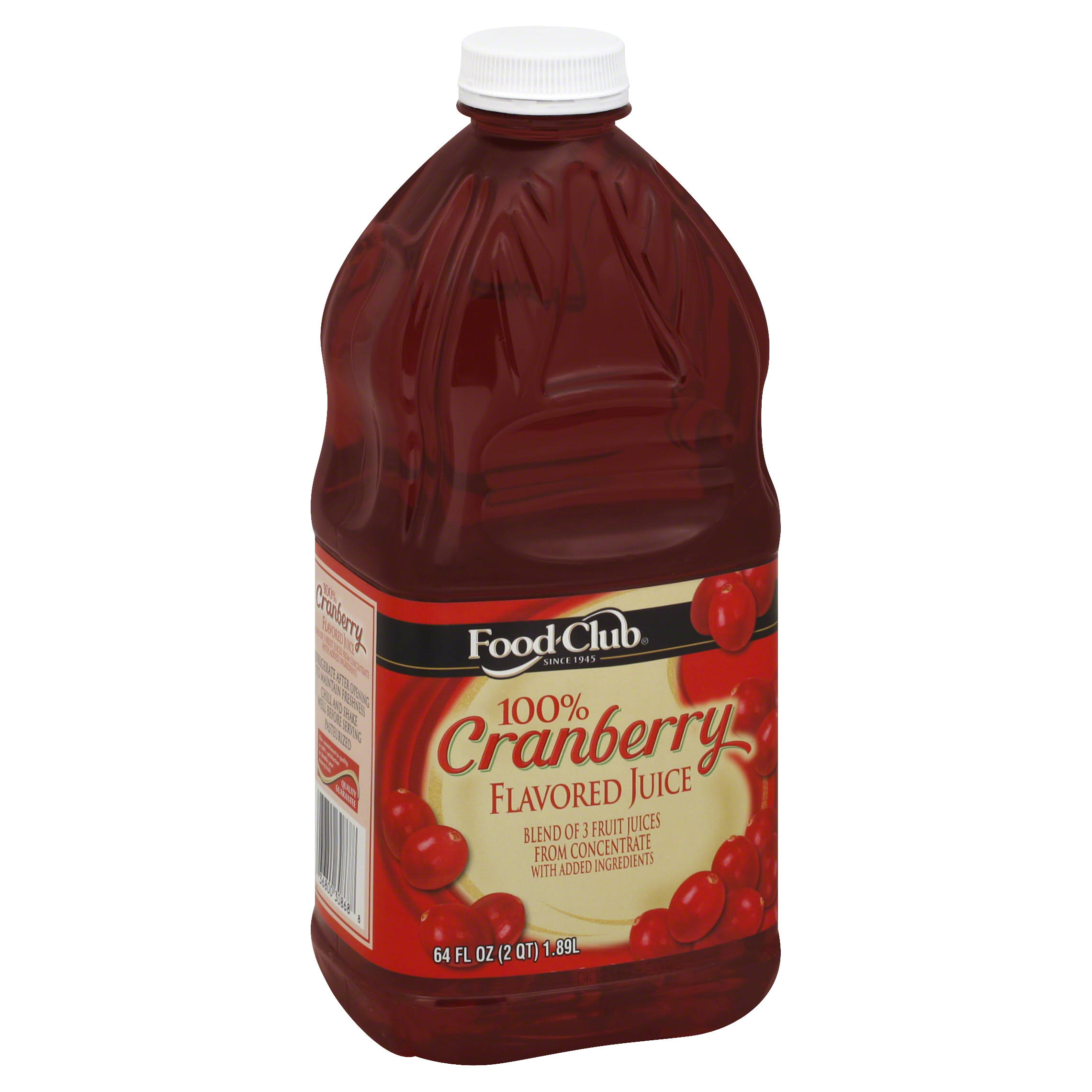 Food Club 100% Juice, Flavored, Cranberry - 64 fl oz