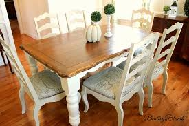 BentleyBlonde: DIY Farmhouse Table & Dining Set Makeover With Annie ... Timelessly Charming Farmhouse Style Fniture For Your Home Interior Rustic Round Ding Table 6 Ideas 30 House X30 Inch Modern Farm Wood You Kitchen Extraordinary Narrow Room Black Chairs Photos And Pillow Weirdmongercom Hercules Series 8 X 40 Antique Folding Four Bench Set Luxury Affordable Grosvenor Wooden With Gray White Wash Top Classic Base Criss Cross Includes Two Benches E Braun Tables Inc Back Burlap Cushions Amish Sets Etc