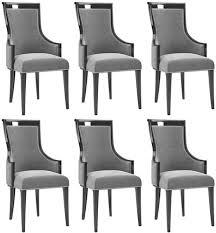 casa padrino luxus deco esszimmer stuhl set grau schwarz silber 50 x 50 x h 110 cm edles küchen stühle 6er set deco esszimmer möbel