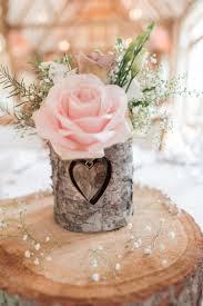 Heart Log Bark Flowers Slice Centrepiece Roses Decor Pretty Pale Pink Country Barn Wedding
