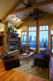 Heres Another Rustic Styled Living Room Richly Appointed With Dark Leather Seating Over A Floral