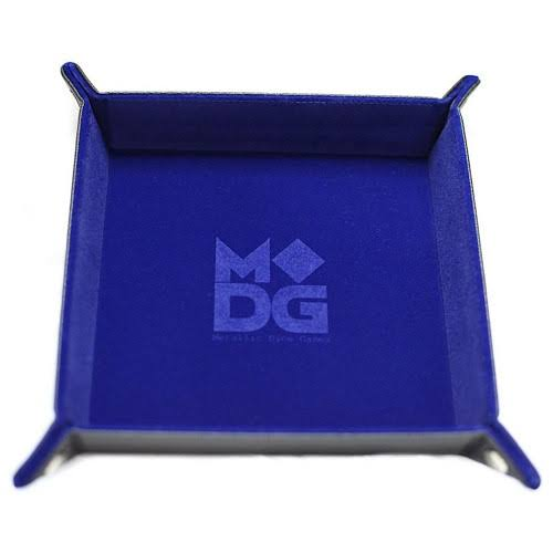 Metallic Dice Games - Velvet Folding Dice Tray-Blue Leather