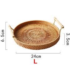 rattan ablage runder korb mit griff handgewebt rattan