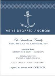 Navy Nautical Anchor Housewarming Party Ideas Invitation