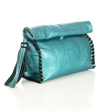 mint metallic handmade leather clutch bag moods accessories