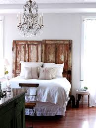 Rustic Master Bedroom Design With Unusual Headboard From Reclaimed Wooden Door Ideas Country Style