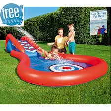 Inflatable Pool Slide For Inground Kids Colored Interactive Play Center Home Swimming Poolside Splash
