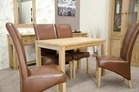 Solid Oak Furniture Dining Table And Four Tan Leather Chairs Set