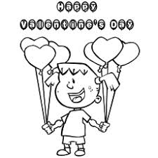 Coloring Page Of A Girl Wishing Valentines Day With Balloon