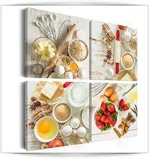 decomonkey bilder küche 4 teilig jedes teil 20x20 cm leinwandbilder bild auf leinwand vlies wandbild kunstdruck wanddeko wand wohnzimmer