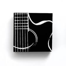6 X Acoustic Guitar Music Canvas Black W White Screenprint