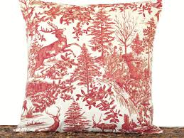 Christmas Toile Pillow Cover Cushion Alpine French Reindeer Pine Trees Holly Red Tan Beige Rustic Primitive Decorative Repurposed 18x18