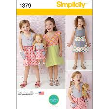 Simplicity Pattern 1379A 34567Child Dresses Sewing For Girls