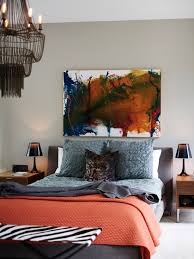 Eclectic Bedroom With Grey And Light Red Bedding Also Abstract Painting Wall Decor For Adult Ideas