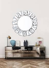 heißer verkauf handgemachte umweltfreundliche einzigartige große zeitgenössische 3d dekorative wand spiegel für wohnzimmer buy runde glas wand