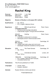 Sample Resume CV For English Teacher