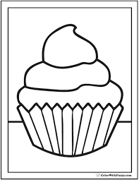 Fluffy Topping Cupcake Coloring Printable