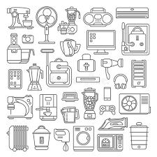 la cuisine du web ensemble à plat graphique de style de schéma des icônes mobiles de