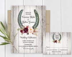 Wedding Invitations Printable Set Horseshoe Plum Purple Marsala Floral Printed Or DIY Print Template
