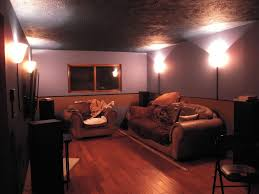 Exposed Basement Ceiling Lighting Ideas by Furniture Graceful Basement Lounge Space Ideas With Brown Under