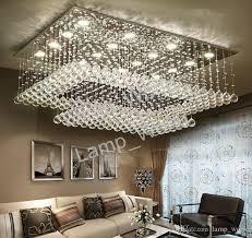 großhandel moderne zeitgenössische fern led kristall kronleuchter mit led leuchten für wohnzimmer rechteckig bündig montieren deckenleuchte