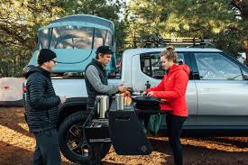 100 Pickup Truck Tent Camper Rivian Unveils Camper Version Of Its R1T Electric Pickup