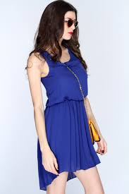 royal blue high low hem casual dress