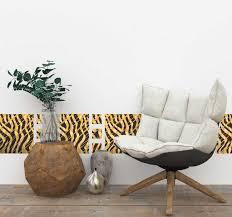wandtattoo wohnzimmer wildes tier tiger muster