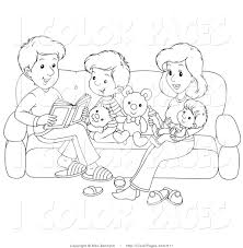 Black And White Coloring Page Of A Happy Family Reading On Couch
