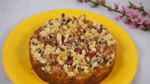 rhabarberkuchen mit vanillepudding vegan