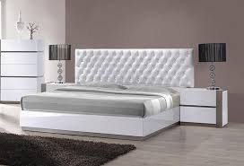 Sophisticated Leather High End Platform Bed with Tufted Headboard