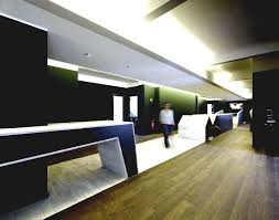 Modern Executive Office Interior Design Viewing Gallery Contemporary Hallway With Wood Flooring Dark Green Colored Walls And Lighting System