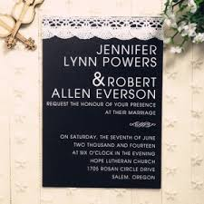Black And White Lace Modern Simple Invitation EWLS020