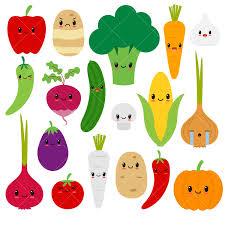Kawaii ve ables cute ve able clipart happy veggies from