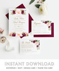 Burgundy Rustic Floral Wedding Invitation Suite Marsala Editable Invite Instant Download
