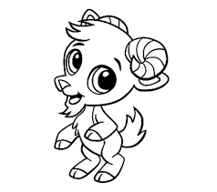 Goat Chibi Standing On Two Feet Coloring Pages