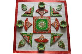 Birthday Or Housewarming Gift Ideas Vibrant Colorful Indian Rangoli Decorative Diya Set With 4 Terracotta Earthen Diyas Wooden Pieces And Jute Base To